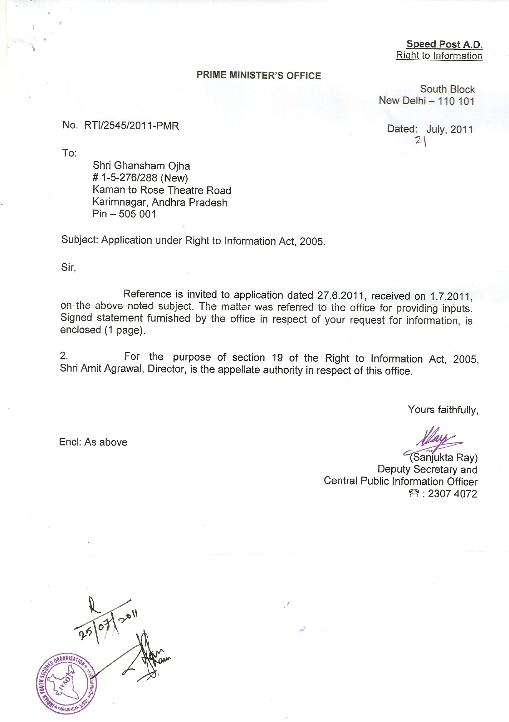 No Rti 2545 2011 Pmr Pmo Dated 21 07 2011 Letter Scanned Copy Page