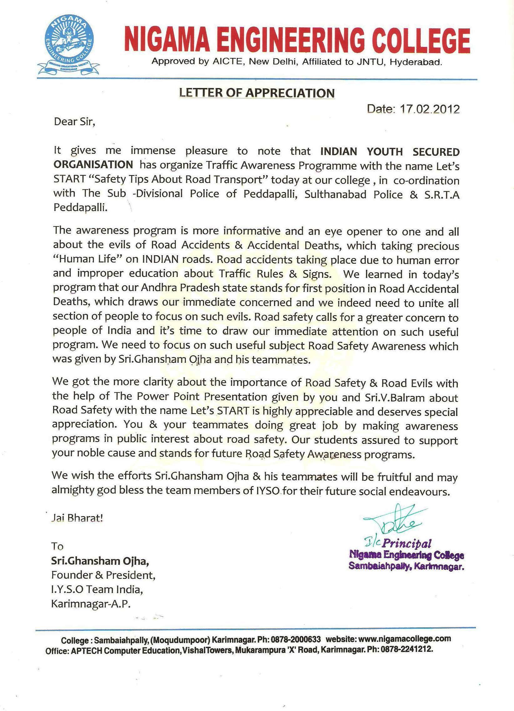 APPRECIATION LETTER-SCANNED COPY | INDIAN YOUTH SECURED ...