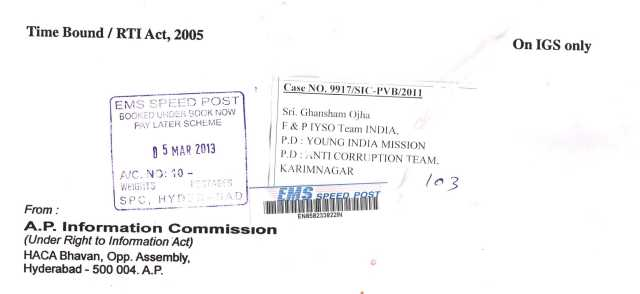 APSIC, NOTE Case.No.9917-SIC-PVB-2011, Dated 28.02.2013 Scanned cover copy