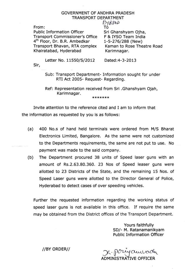 SRTA Letter.No 11550-S-2012, Dated 04.03.2013 Reply by PIO Scanned copy