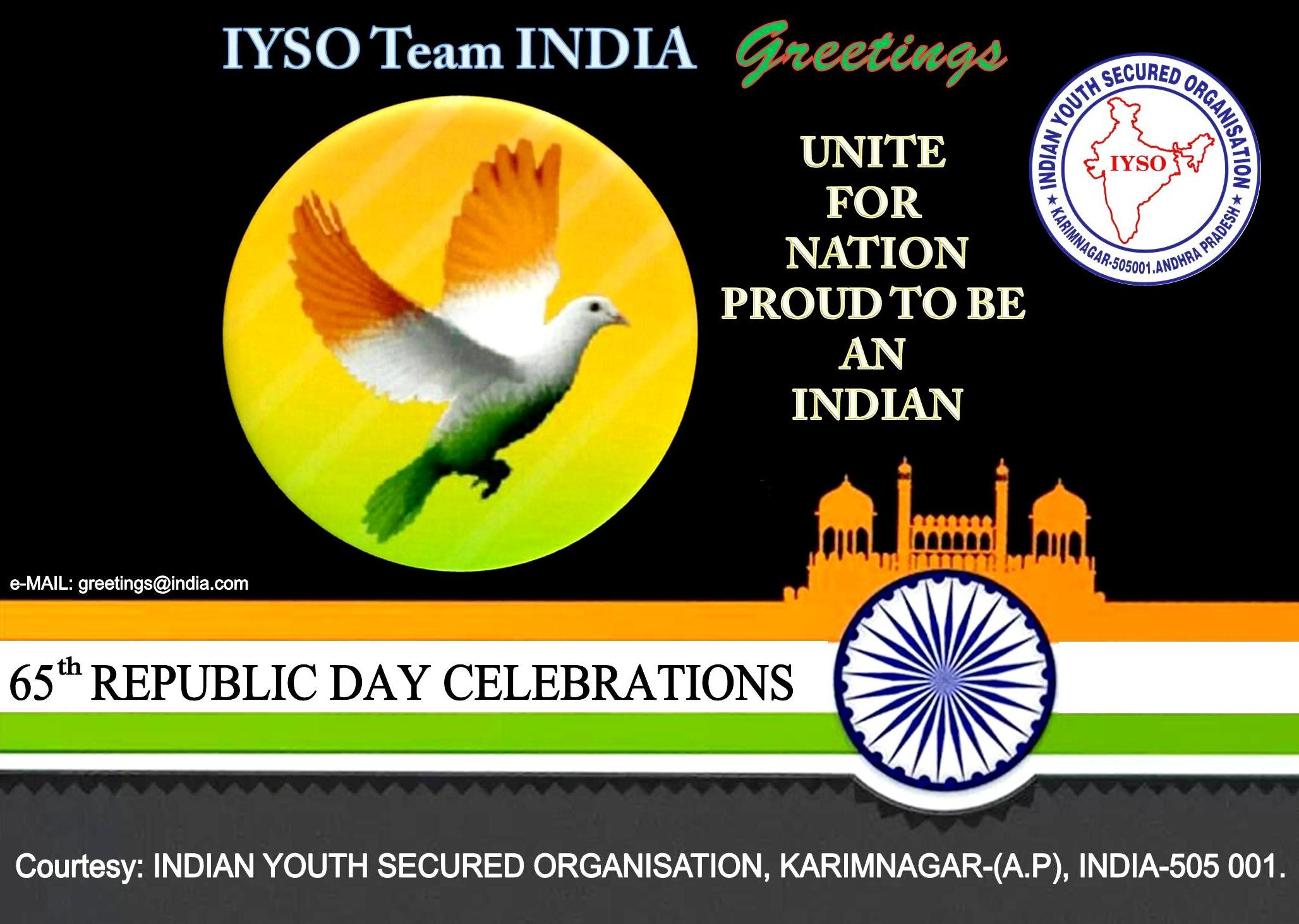 Iyso Team India Greetings On The Eve Of 65th Republic Day